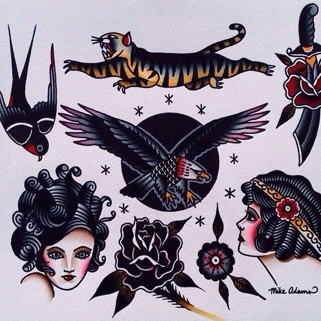 53b0ba97f tattoo flash by mike adams | Tattoos | Tattoos, Sleeve tattoos, Old ...