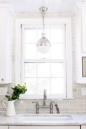 Full Backsplash Up Whole Wall Would They Do The Cuts For Us Around Windows Tile Be Constantly Dirty White And Gray Kitchen Features
