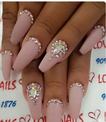 nails acrylic rhinestones beauty 62 ideas with images