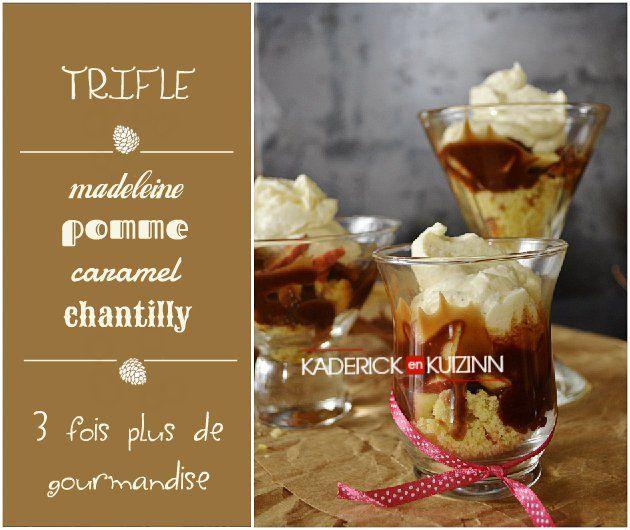 Préparation du trifle pomme, madeleine, caramel et chantilly à la vanille