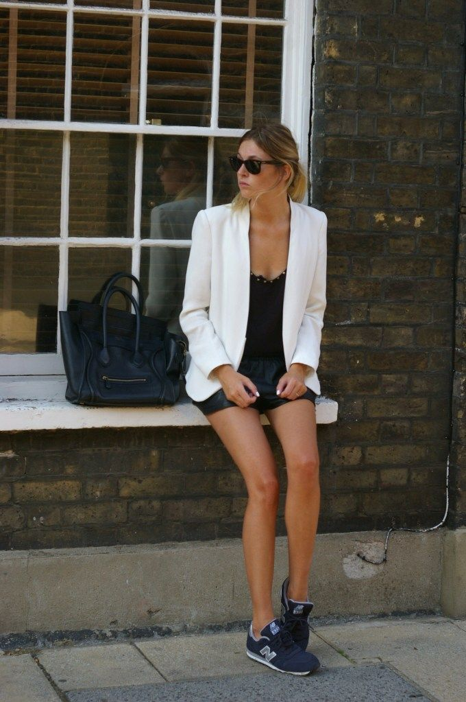 Zara blazer and top, Maje leather shorts, New Balance sneakers,Celine Mini Luggage tote(available online now!), Rayban sunglasses [source: camilleovertherainbow]