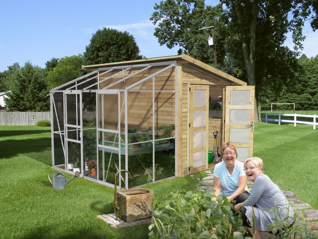 abri de jardin bois avec serre polycarbonate m2 19 mm arnica 2 karibu prix 1745. Black Bedroom Furniture Sets. Home Design Ideas