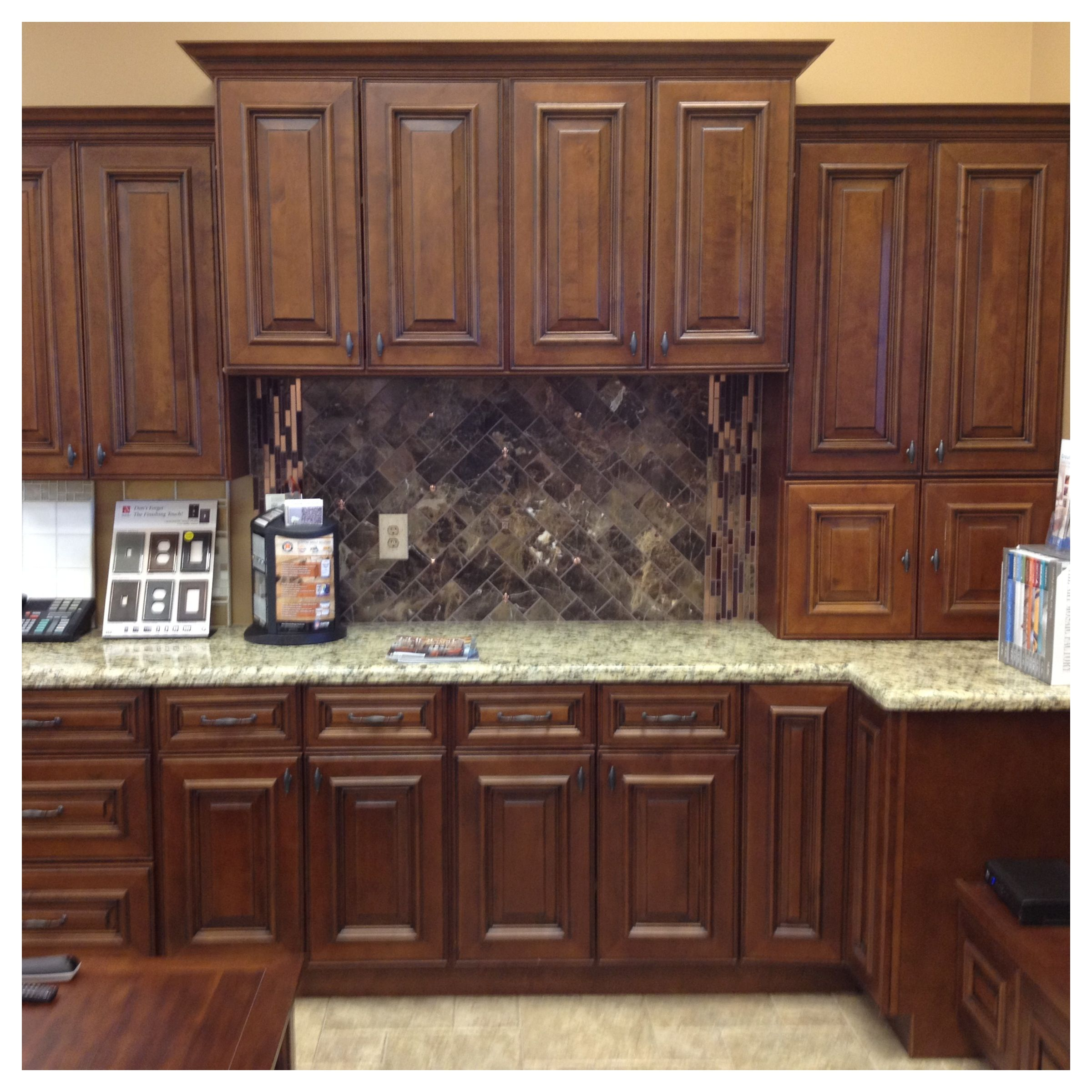 Entertainment Center Raised Panel Walnut Cabinet Style With Light Granite And Marble Backsplash Call Walnut Cabinets Cabinet Styles Entertainment Center