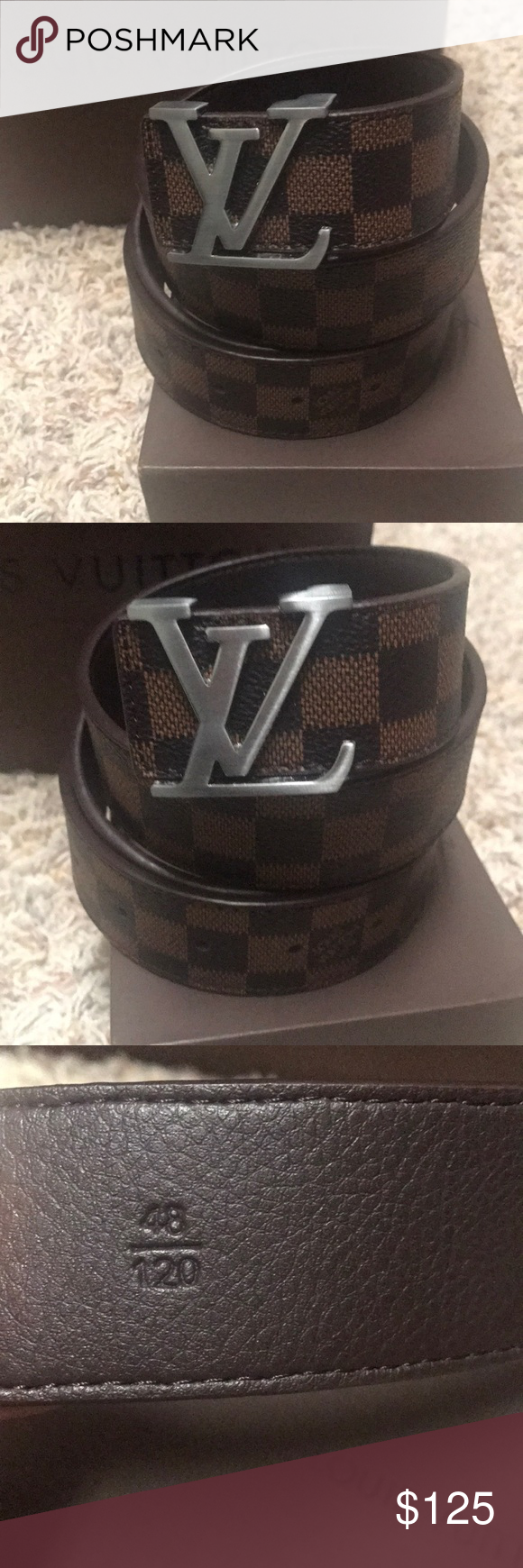 Lv Damier Belt Brown Leather Louis Vuitton Belt With Silver Buckle Brand New Size 48 120 Louis Vuitton Louis Vuitton Accessories Louis Vuitton Belt Lv Damier