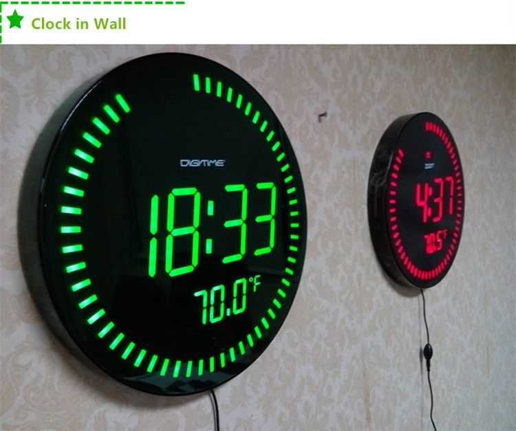 3d Creative Circular Large LED Digital Wall Clock Modern ...