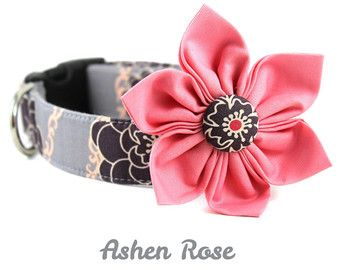 Grey and Pink Floral dog collar