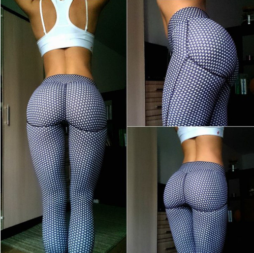 The Women Sexy Shaping Hip Yoga Pants is made of polyester and spandex. It has an elastic waist and broadcloth fabric