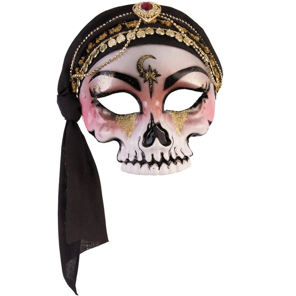 Forum Novelties Fortune Teller Mask with Scarf (Black), Standard