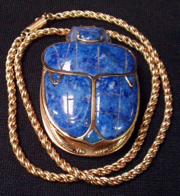 30 Gold And Lapis Scarab Egyptian Pendant On Joyer 237 A