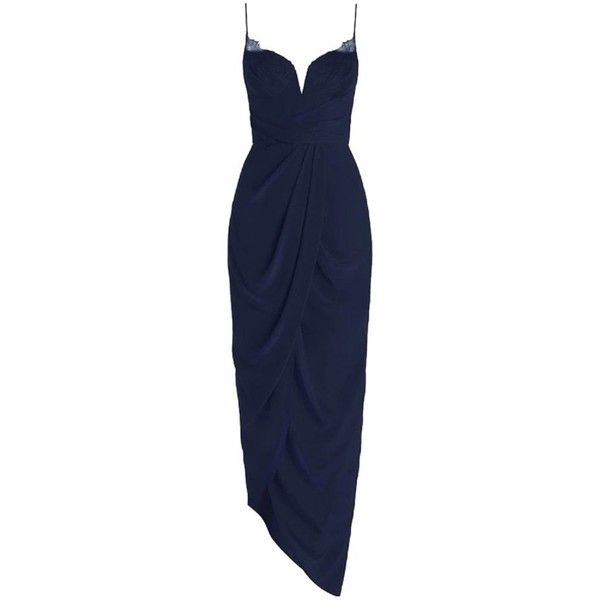 Pre-owned Zimmermann Navy Silk Web U/w Long Dress (€300) ❤ liked on Polyvore featuring dresses, gowns, navy, long navy dress, asymmetrical draped dress, silk dress, strap dress and silk drape dress