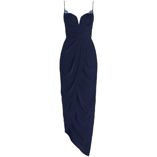 8e668e3e746bf Pre-owned Zimmermann Navy Silk Web U/w Long Dress (5,550 MXN) ❤ liked on  Polyvore featuring dresses, navy, blue dress, asymmetrical draped dress,  navy blue ...