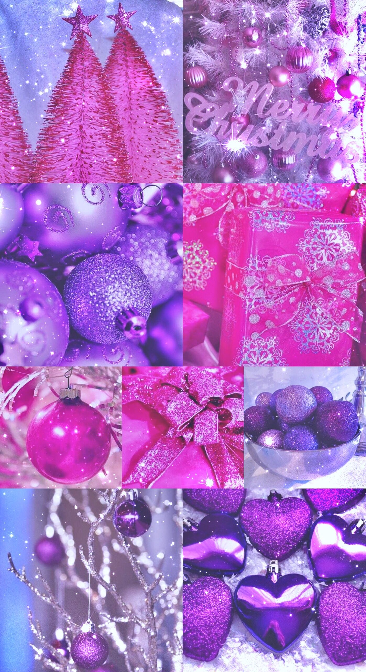 Sparkly Christmas Xmas Glitter Pink Purple Gifts Tree