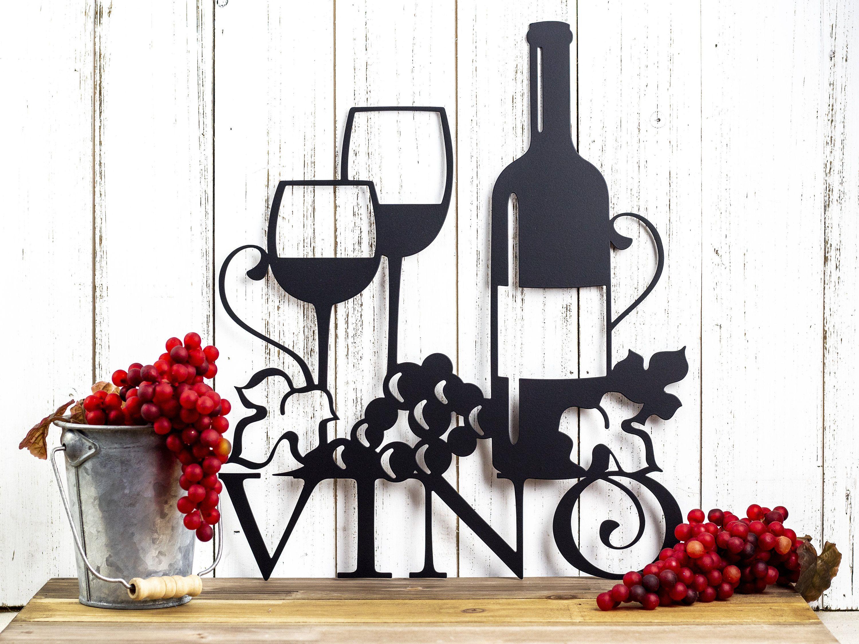 Vino Metal Wall Art Wine Vino Wine Sign Wine Wall Decor Wine Decor Kitchen Decor Metal Sign Wedding Gi Wine Wall Decor Wine Wall Art Wine Signs