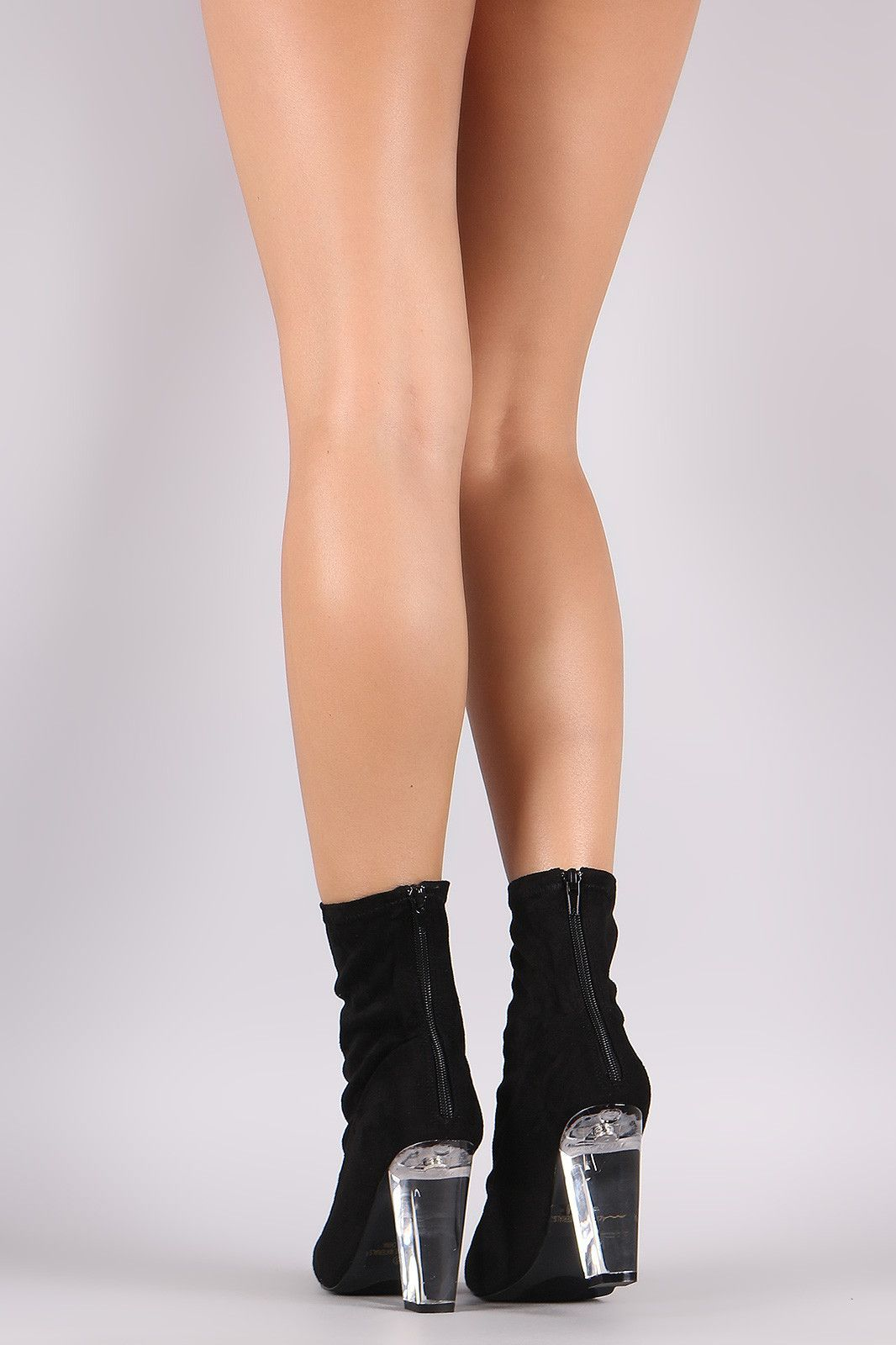 3b4157ed78b Liliana Suede Pointy Toe Chunky Lucite Heeled Ankle Boots   Products ...