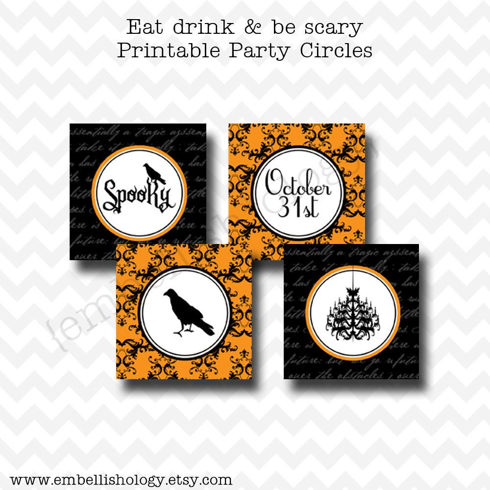 Eat Drink and Be Scary Printable Halloween Party Circles, Cupcake Toppers, Favor Tags.