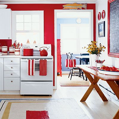 coastal colors: red, white, & blue | red color, red kitchen and