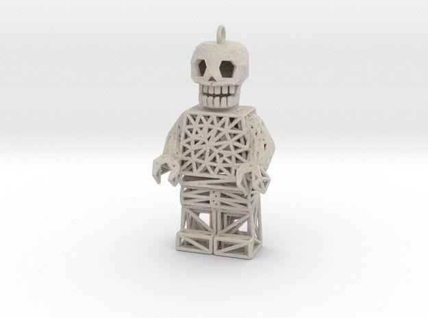 Los Muertos Lego Man Solid Head 3d printed Jewelry Pendants Sandstone