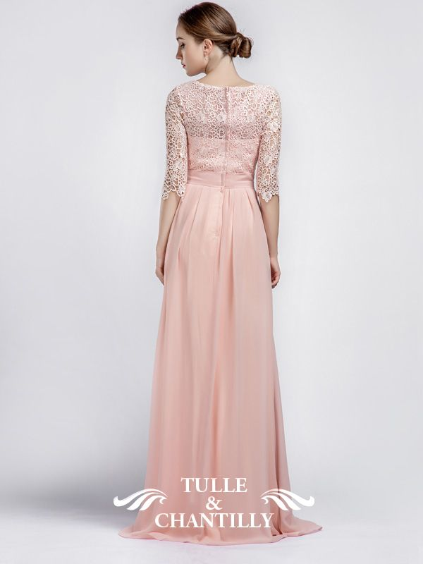 Boat Neck Lace Sleeves Bridesmaid Dress with Chiffon Skirt TBQP356 ...