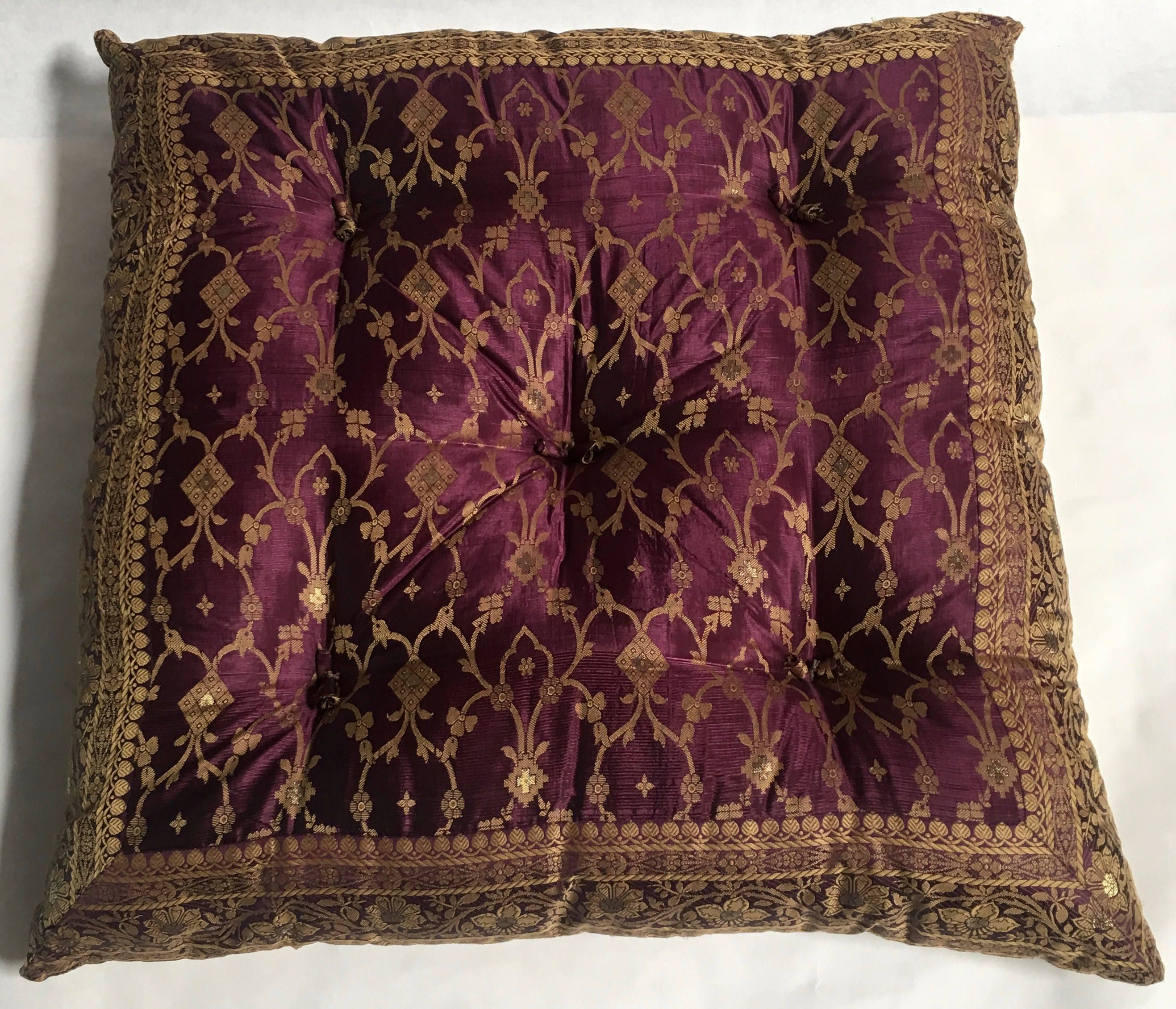 Eggplant kela sari floor sitting cushion | Floor Cushions ...