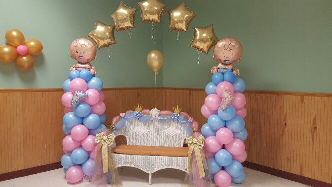 Balloon Tower With Floating Arch Gender Reveal Party Decorations Gender Reveal Balloons Baby Gender Reveal Party Decorations