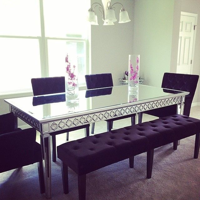 It Looks Like Is On The Right Track For A Chic Dining Room! Features Our  Sophie Mirrored Dining Table And Lola Bench Side Chairs. Love This Table!