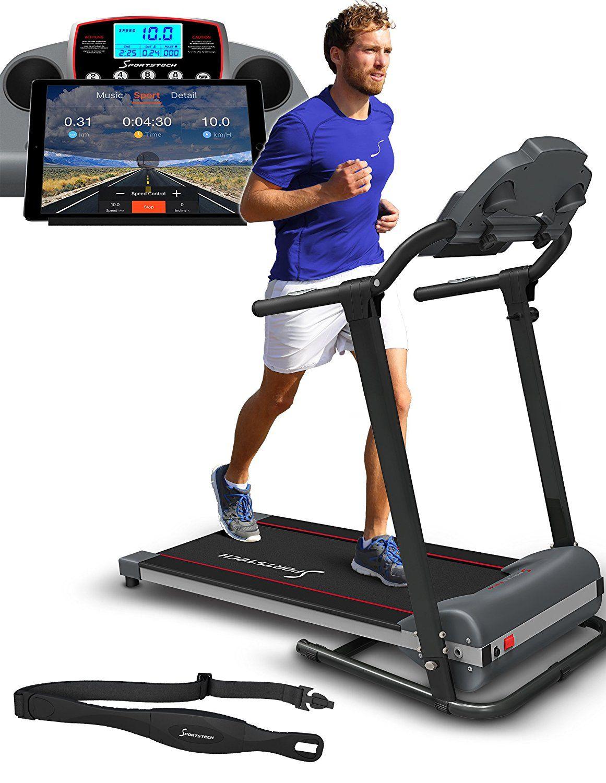 Sportstech Tapis De Course Electrique F10 Commande Par Application Smartphone Compatible Ceinture Cardio Bluetooth Aut Tapis De Course Course Electrique Sport