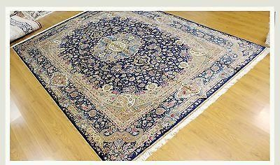Silk Tabriz Navy Blue Rug Transcendent Handmade 10 X 14 Bestrugplace This Original Home Decor Floor Covering Was Made By The Navy Blue Rug Blue Rug Rugs