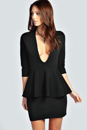 boohoo Maddie Plunge Neck 3/4 Sleeve Peplum Dress - black £20.00 by boohoo.com