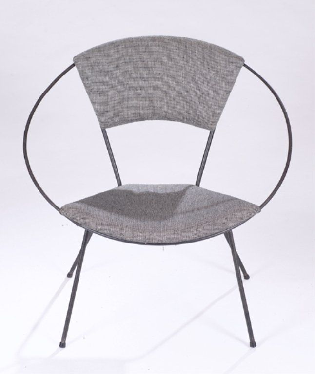 Mid Century Modern Circular Chair With Metal Frame