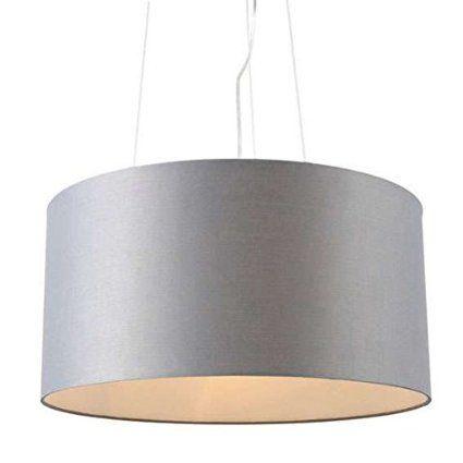 Cool QAZQA Modern Pendelleuchte Drum rund grau Textil Zylinder Rund LED geeignet