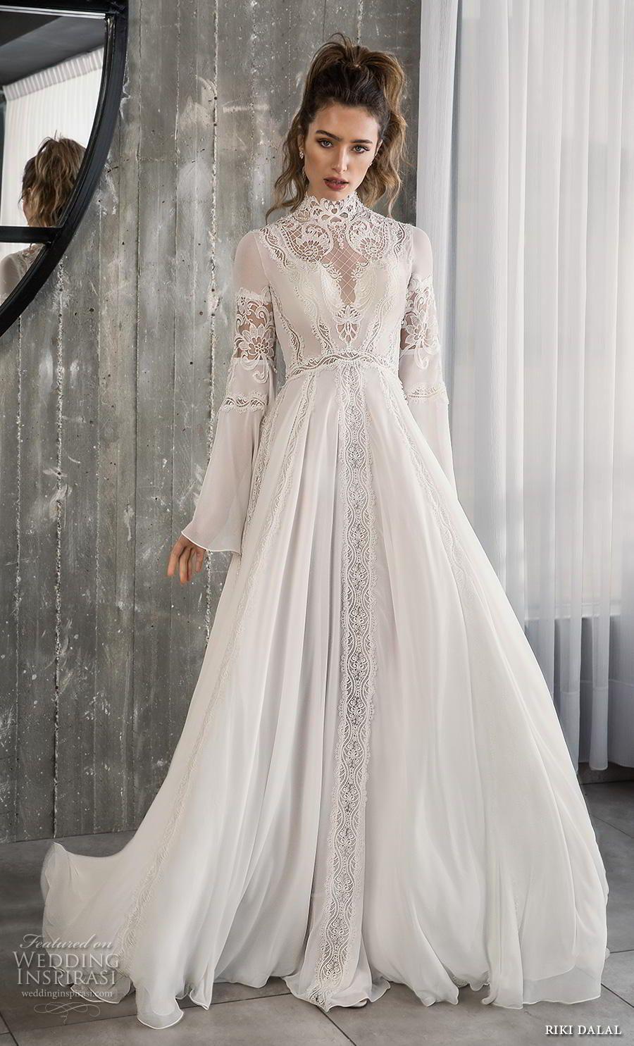 578a2654e229 riki dalal 2018 glamour bridal long bell sleeves high neck heavily  embellished bodice romantic bohemian a