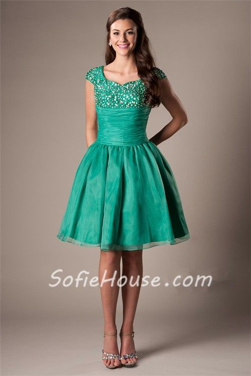 emerald green short dress - Dress Yp