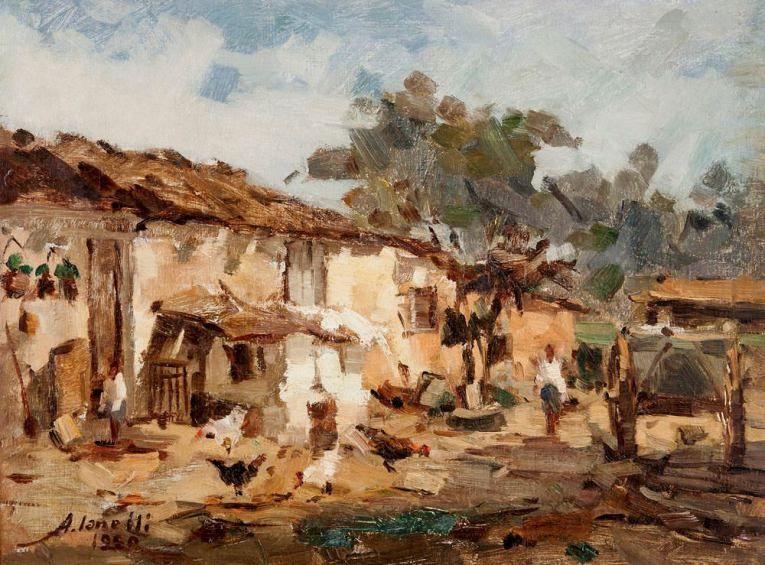 Paisagem do interior com casas, galinhas e carroça,  1950 Arcangelo Ianelli (Brasil, 1922-2009) óleo sobre tela, 46 x 61 cm