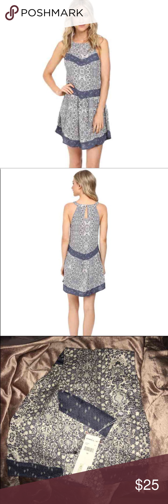 NWT O'Neill Renee dress Allover print with contrast cut-and-sew panels. Keyhole at back with button-loop closure. Shirring detail at skirt. Sleeveless. Shoulder to hem length: 34 inches. 100% viscose. O'Neill Dresses