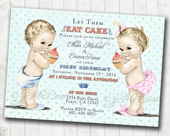 Vintage Themed Birthday Invitations For Twins Baby Girl And Boy Made To Order With Easy DIY At Home Printing