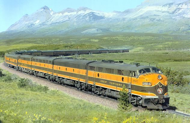The Great Northern Empire Builder near Marias Pass in the mid fifties.  They sure knew how to make a train look good at that time.