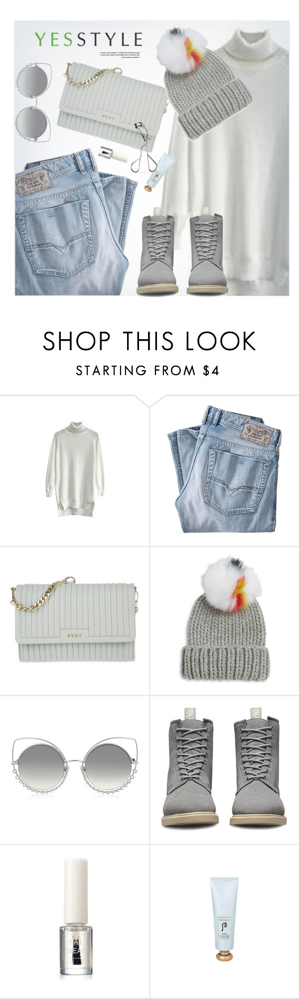 """""""YESSTYLE.com"""" by monmondefou ❤ liked on Polyvore featuring Diesel, DKNY, Eugenia Kim, Marc Jacobs, Dr. Martens, The History of Whoo, Innisfree, Beauty, New and year"""