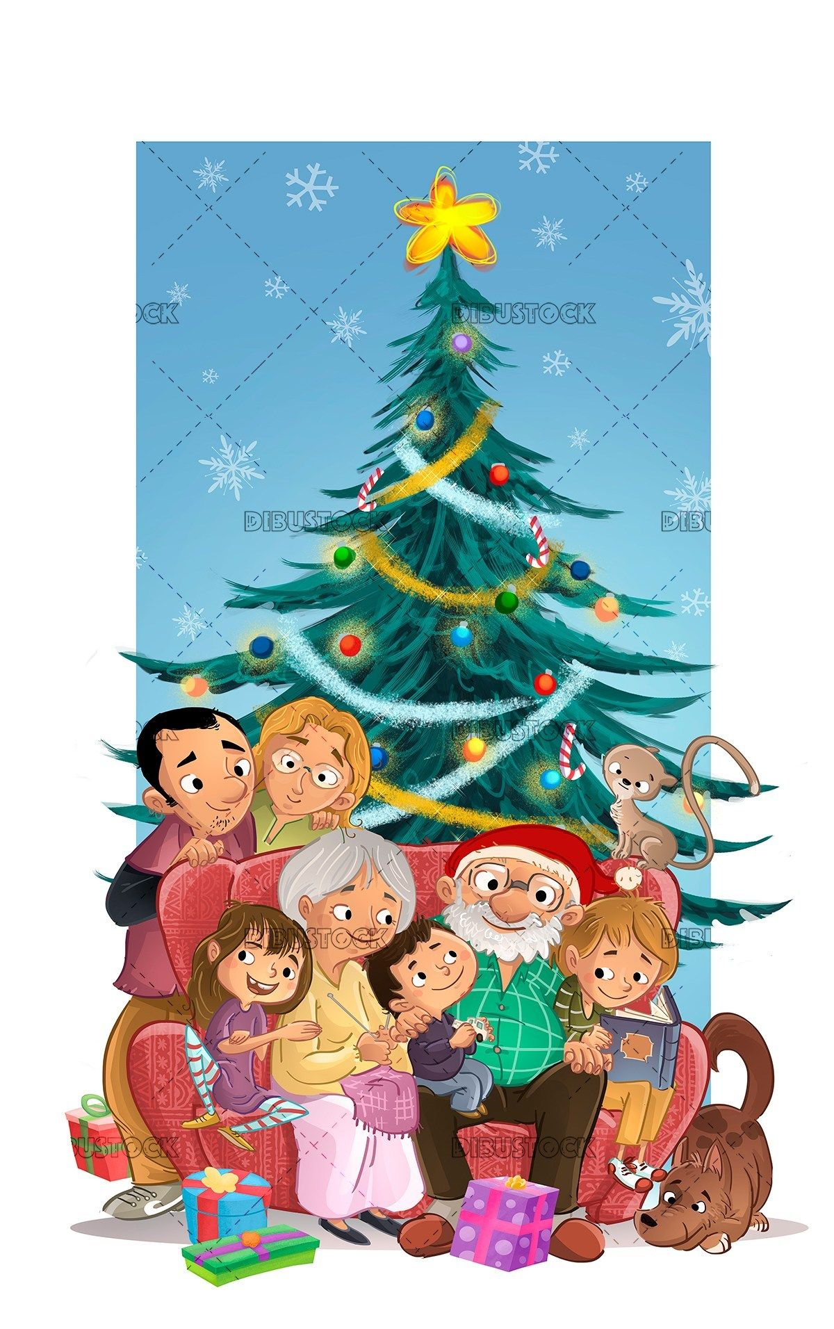 Christmas Celebration Images For Drawing.Baubles Celebration Christmas Drawing Family Father