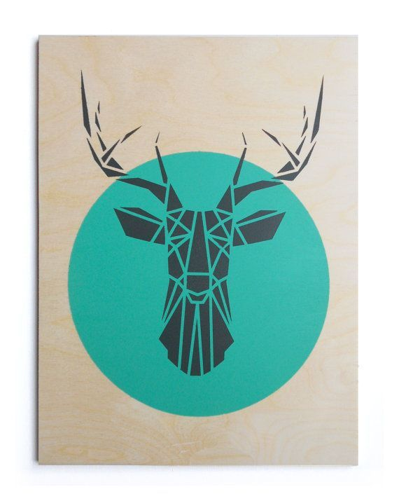 T te de cerf grand contreplaqu la main pochoir art g om trique origami deer uvres d - Patron tete de cerf ...