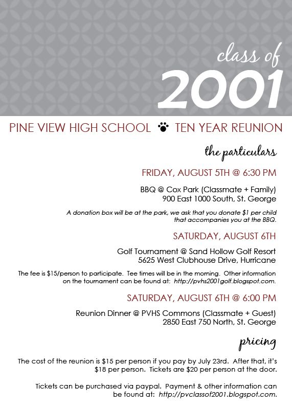 Class reunion invitation templates wording ideas on high school