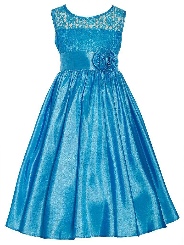 Wonder Girl Kate Big Girls\' Lace Taffeta Tea Length Long Dress 12 ...