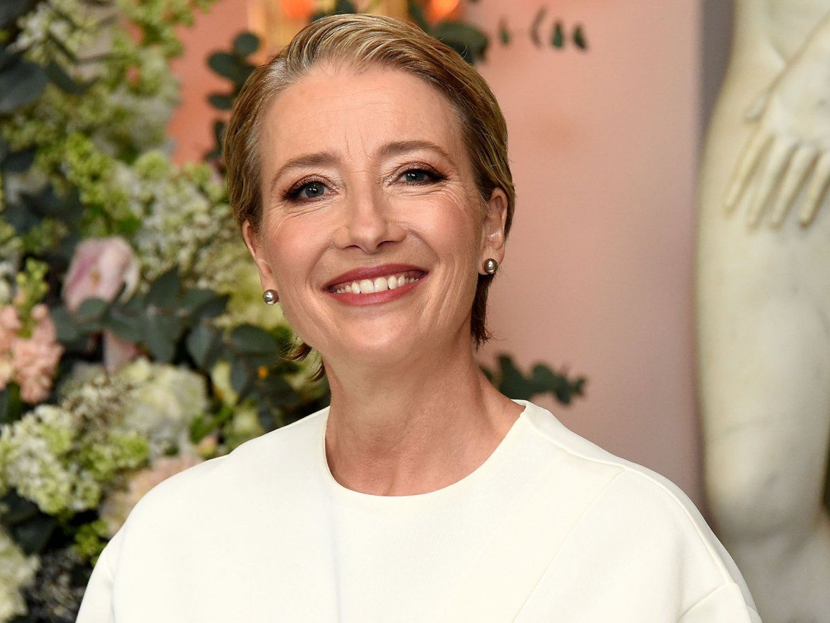 British actress Emma Thompson usually wears her hair straight instead of up in curls.