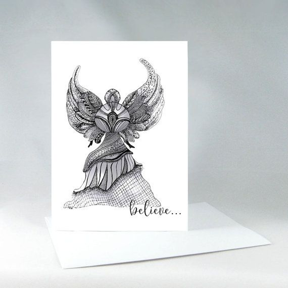 Angel Card Elegant Angel Holiday Card Believe by KateKreatesArt