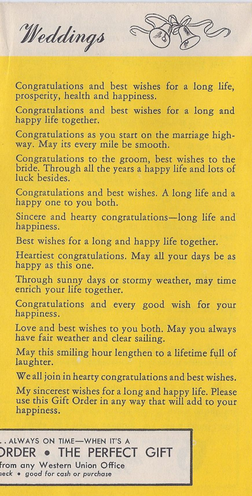 Wedding Wishes From A 1930 S Telegram Pamphlet Verses For