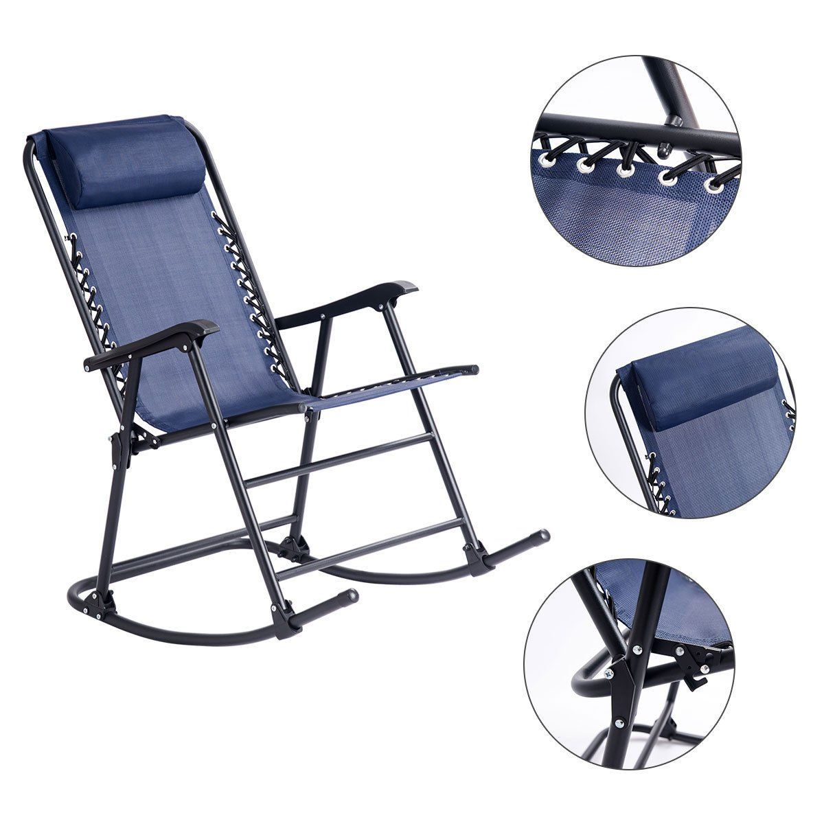Camping Rocking Chair Goplus Folding Rocking Chair W Headrest Outdoor Portable Zero