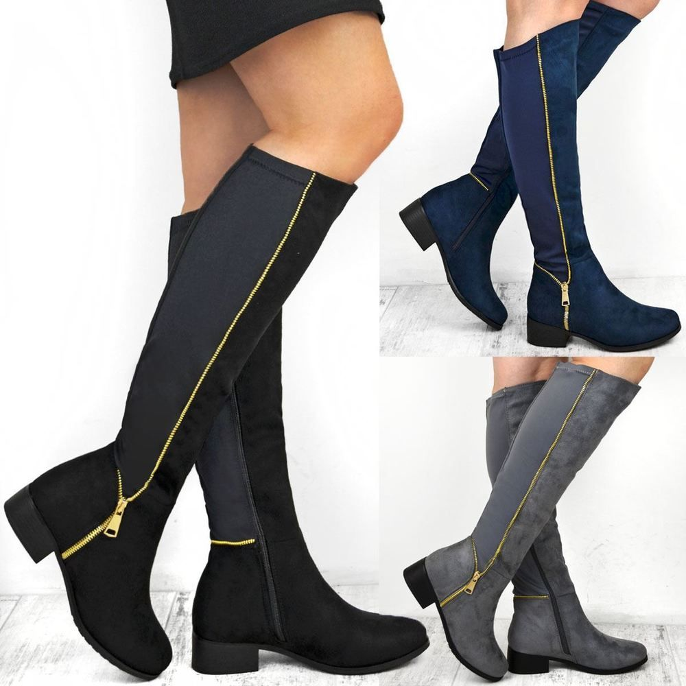 45613b982d6 Womens Ladies Knee High Boots Winter Flat Wide Leg Stretchy Low Heel Shoes  Size  Branded  KneeHighBoots  Casual