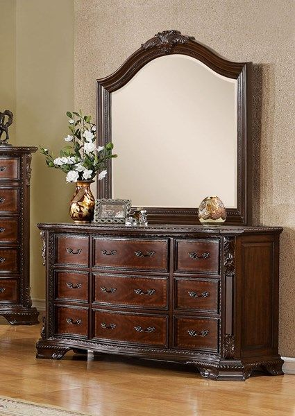 Bellefonte Traditional Brown Cherry Solid Wood Dresser And Mirror
