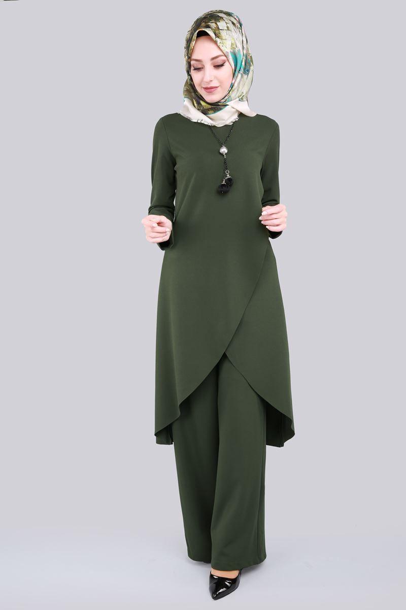 Verev Kesimli 2 Li Tesettur Kombin Knz5079 Haki Elbise Islami Giyim Elbise Modelleri
