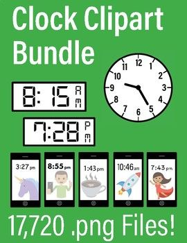 Huge Clock Clip Art Bundle Digital Analog Clocks Smartphones