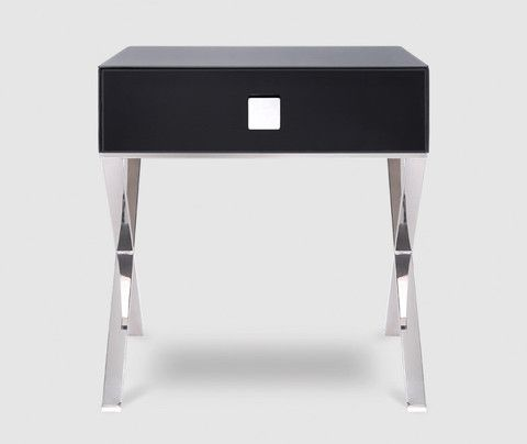 detailing 4d59e f82fd Zurich Black Glass & Chrome Bedside Table | Master Bedroom ...